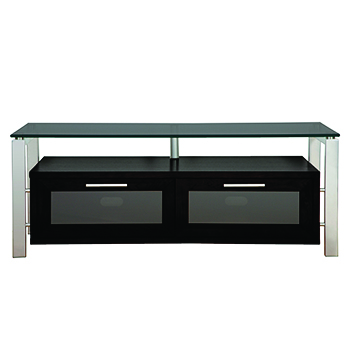 "Plateau DECOR 50 B-S-BG TV Stand up to 55"" TVs in Black Oak finish with Silver Frame and Black Glass. Plateau-Decor-50-B-S-BG"