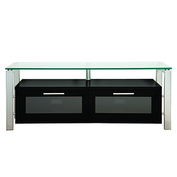 "Plateau DECOR 50 B-S TV Stand up to 55"" TVs in Black Oak finish with Silver Frame and Clear Glass.  Plateau-Decor-50-B-S"