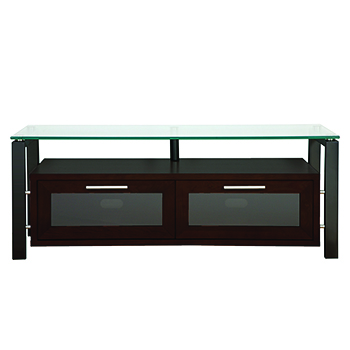 "Plateau DECOR 50 E-B TV Stand up to 55"" TVs in Espresso finish with Black Frame and Clear Glass. Plateau-Decor-50-E-B"