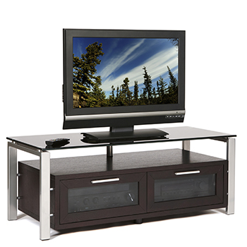 "Plateau DECOR 50 E-S-BG TV Stand up to 55"" TVs in Espresso finish with Silver Frame and Black Glass. Plateau-Decor-50-E-S-BG"