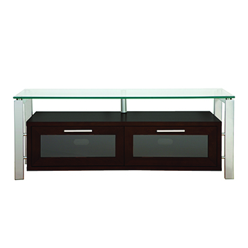 "Plateau DECOR 50 E-S TV Stand up to 55"" TVs in Espresso finish with Silver Frame and Clear Glass. Plateau-Decor-50-E-S"