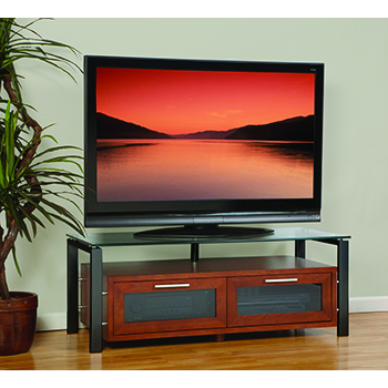 "Plateau DECOR 50 W-B TV Stand up to 55"" TVs in Walnut finish with Black Frame and Clear Glass. Plateau-Decor-50-W-B"