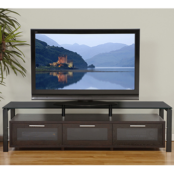 "Plateau DECOR 71 B-B-BG TV Stand up to 75"" TVs in Black Oak finish with Black Frame and Black Glass. Plateau-Decor-71-B-B-BG"