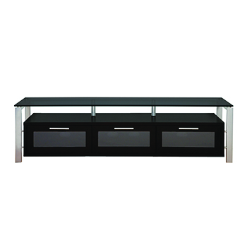 "Plateau DECOR 71 B-S TV Stand up to 75"" TVs in Black Oak finish with Silver Frame and Black Glass. Plateau-Decor-71-B-S-BG"