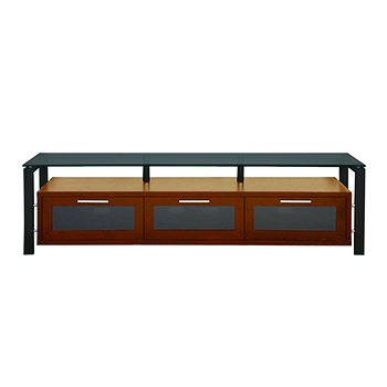"Plateau DECOR 71 W-B-BG TV Stand up to 75"" TVs in Walnut finish with Black Frame and Black Glass. Plateau-Decor-71-W-B-BG"