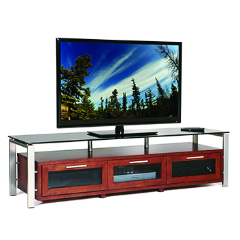 "Plateau DECOR 71 W-S-BG TV Stand up to 75"" TVs in Walnut finish with Silver Frame and Black Glass. Plateau-Decor-71-W-S-BG"