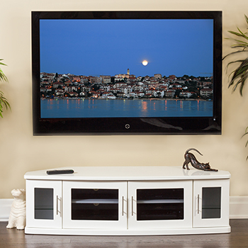 "Plateau Newport 62 Corner TV Stand up to 60"" TVs in White finish."