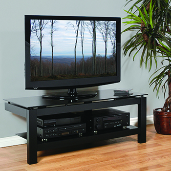 "Plateau SL-2V 50-B TV Stand up to 55"" TVs in Black Finish with Glass Shelf. Copy Plateau-SL-2V-50-B-BG"