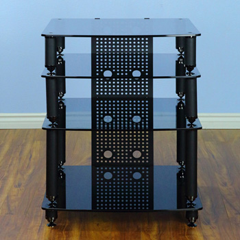 VTI 36444 - 4 Shelf Professional Audio Rack in Black frame and  Black Glass - VTI 36000 Series