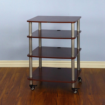 VTI AR 404 - 4 Shelf Audio Rack with Gray Silver Poles and Cherry Shelves. VTI-AR404SC