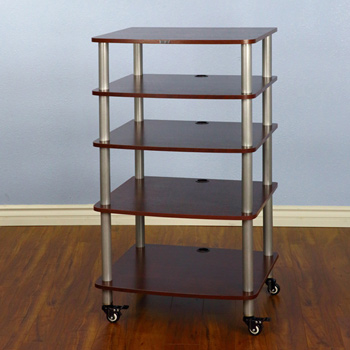 VTI AR 405 - 5 Shelf Audio Rack with Gray Silver Poles and Cherry Shelves. VTI-AR405SC