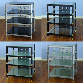 "VTI BLG 404 - 4 Shelf Audio Rack TV Stand with Black Poles and Black Glass up to 27"" TVs. VTI-BLG404BB"