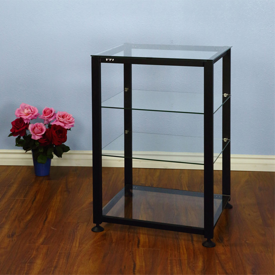 VTI EGR404B - 4 Shelf Audio Rack with Black frame and Clear Glass.