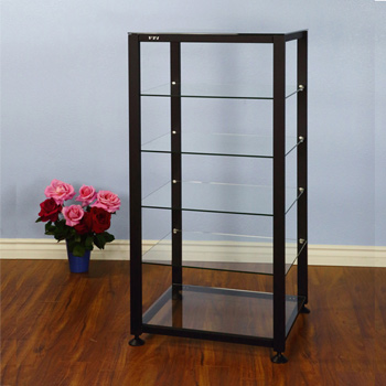 VTI EGR406B - 6 Shelf Audio Rack with Black frame and Clear Glass.