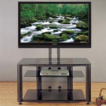 "VTI HFR 403 TV Stand with Black Frame and Black Glass up to 55"" Flat Panel TVs. VTI-HFR403BB"