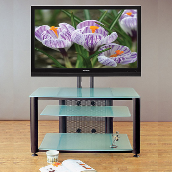 VTI HFR 403 TV Stand with Black Frame and Frosted Glass up to 55