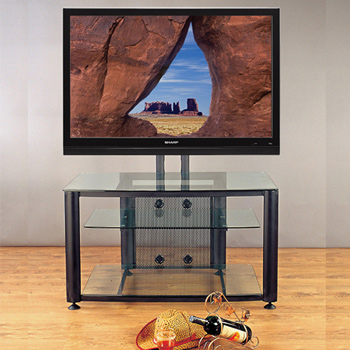 "VTI HFR 403 TV Stand with Black Frame and Clear Glass up to 55"" Flat Panel TVs. VTI-HFR403BW"