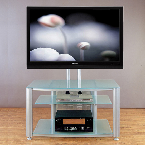 VTI HFR 403 TV Stand with Gray Silver Frame and Frosted Glass up to 55