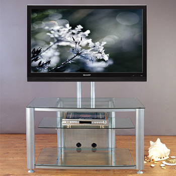 "VTI HFR 403 TV Stand with Gray Silver Frame and Clear Glass up to 55"" Flat Panel TVs. VTI-HFR403SW"