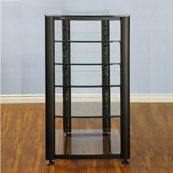 VTI HGR406B - 6 Shelf Audio Rack with Black frame and Clear Glass.