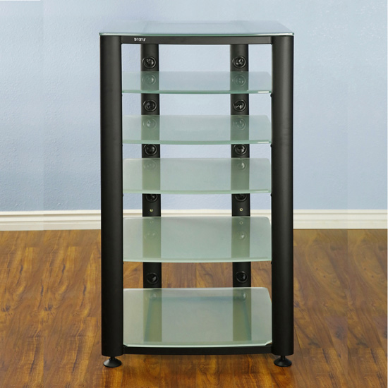 VTI HGR406BF - 6 Shelf Audio Rack with Black Poles and Frosted Glass.