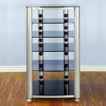 VTI HGR406SB - 6 Shelf Audio Rack with Silver frame and Tinted Black Glass.