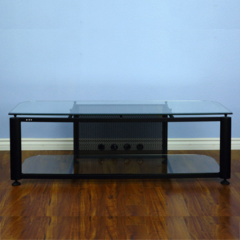 "VTI HGR60B Series TV Stand up to 65"" TVs with Black Frame and Clear glass."