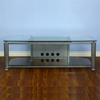 "VTI HGR60S Series TV Stand up to 65"" TVs in Gray Silver Frame and Clear glass."