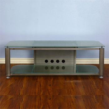 "VTI HGR60SF Series TV Stand up to 65"" TVs in Gray Silver Frame and Frosted glass."