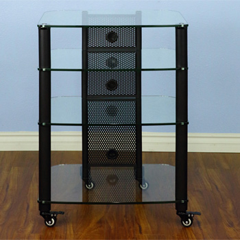 VTI NGR404BW - 4 Shelf Audio Rack with Black Poles and Clear Glass. VTI-NGR404BW