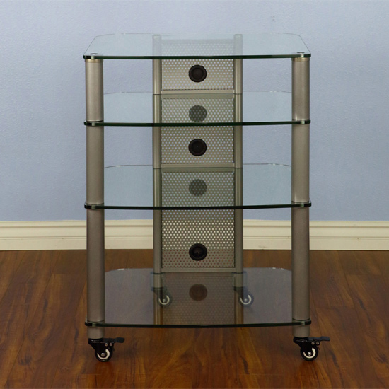 VTI NGR404SW - 4 Shelf Audio Rack with Gray Silver Poles and Clear Glass.