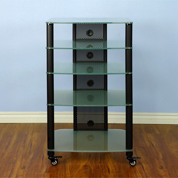 VTI NGR405BF - 5 Shelf Audio Rack with Black Poles and Frosted Glass.