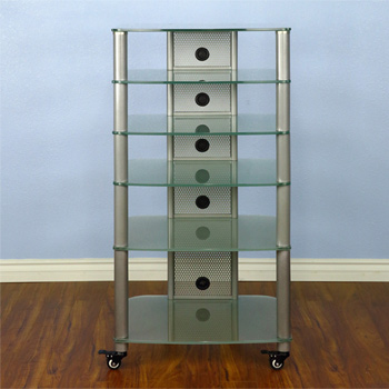 VTI NGR406SF - 6 Shelf Audio Rack with Gray Silver Poles and Frosted Glass.