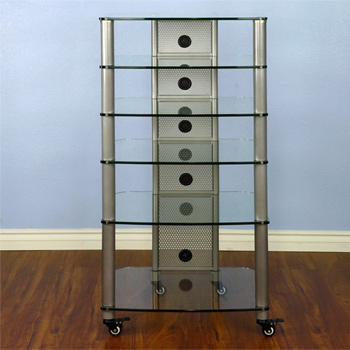 VTI NGR406SW - 6 Shelf Audio Rack with Gray Silver Poles and Clear Glass.