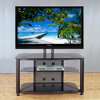 "VTI RFR 403 TV Stand with Black Frame and Black Glass up to 55"" TVs."