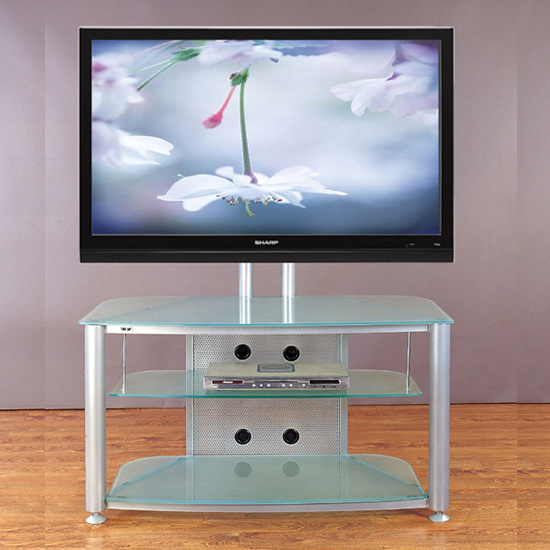 VTI RFR 403 TV Stand with Silver Gray Frame and Frosted Glass up to 55