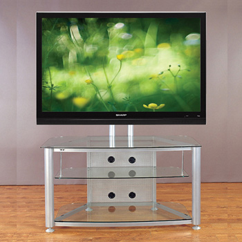 "VTI RFR 403 TV Stand with Silver Gray Frame and Clear Glass up to 55"" TVs. VTI-RFR403SW"