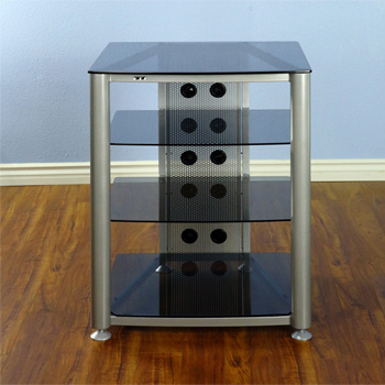 VTI RGR404SB - 4 Shelf Audio Rack with Gray Silver frame and Black Glass.