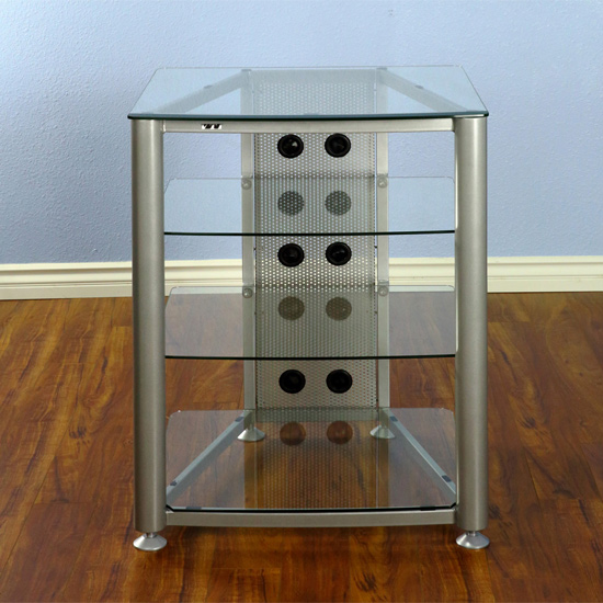 VTI RGR404SW - 4 Shelf Audio Rack with Gray Silver frame and Clear Glass.