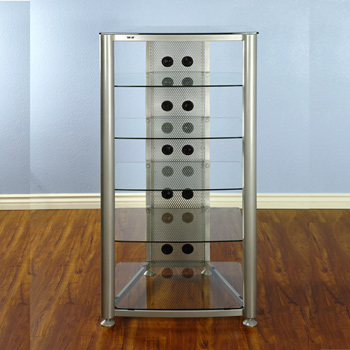 VTI RGR406SW - 6 Shelf Audio Rack with Gray Silver frame and Clear Glass.