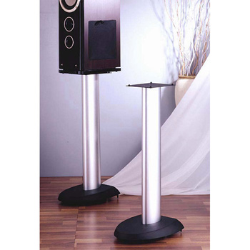 "VTI VSP29SB - 29"" Height Pair of Speaker Stands with Silver Pole and Black Base. VTI-VSP29SB"