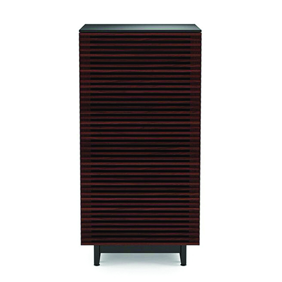 BDI Corridor 8172 AUDIO TOWER Cabinet In Chocolate Stained Walnut Color.