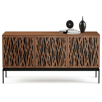 "BDI Elements 8777-CO Audio Cabinet TV Stand up to 70"" TV's in Natural Walnut color and Wheat Patterns doors."
