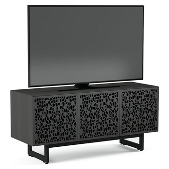 "BDI Elements 8777-ME Audio Cabinet TV Stand up to 70"" TV's in Charcoal Stained Ash color and Mosaic Patterns doors."