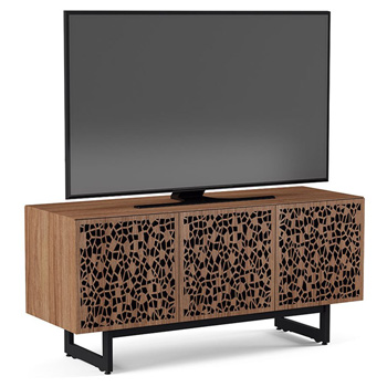 "BDI Elements 8777-ME Audio Cabinet TV Stand up to 70"" TV's in Natural Walnut color and Mosaic Patterns doors."