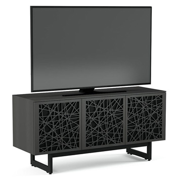 "BDI Elements 8777-ME Audio Cabinet TV Stand up to 70"" TV's in Charcoal Stained Ash color and Ricochet Patterns doors."
