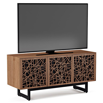 "BDI Elements 8777-ME Audio Cabinet TV Stand up to 70"" TV's in Natural Walnut color and Ricochet Patterns doors."