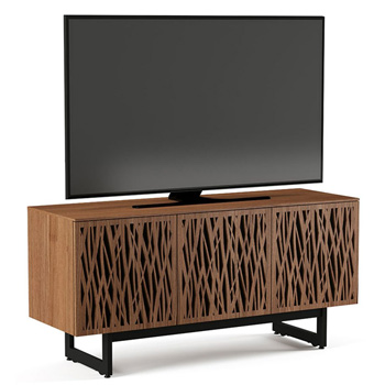 "BDI Elements 8777-ME Audio Cabinet TV Stand up to 70"" TV's in Natural Walnut color and Wheat Patterns doors."