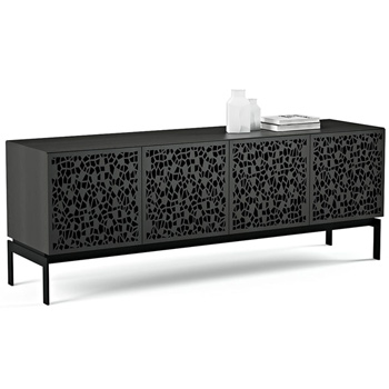 "BDI Elements 8779-CO Audio Cabinet TV Stand up to 85"" TV's in Charcoal Stained Ash color and Mosaic Patterns doors."
