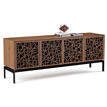 "BDI Elements 8779-CO Audio Cabinet TV Stand up to 85"" TV's in Natural Walnut color and Ricochet Patterns doors."